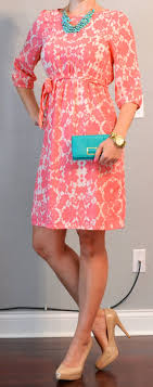 Outfit Post Peach Floral Dress Teal Accessories