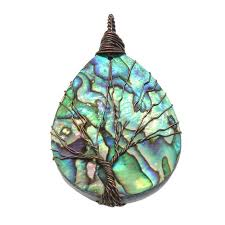 retro style colorful natural abalone shell wire wrapped tree of life pendant handmade necklace luxury jewelry gift