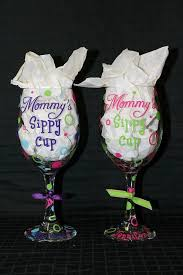 personalized mommy s sippy cup wine glass by thetwistedsticker 16 00