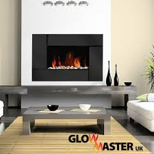black glass panel electric fireplace