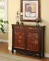 Hallway Console Cabinet Chinese Red Chinoiserie Antique Style Chest Cabinet Buffet Entry