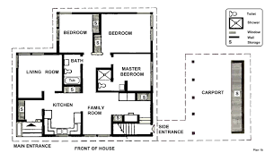 this two bedroom house plan is more extended than the rest it comes with additional utilities such as a carport and side entrance area