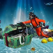 Fun Fish Tank Decorations Diver Treasure Model Aquarium Decoration Air Operated Decor Fish
