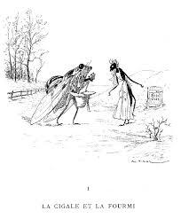 Illustration Dessin Vimar Fable De La Fontaine La Cigale Et La