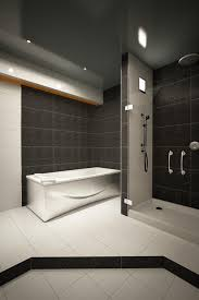 bathroom modern white. Black Ceramics Contemporary Bathroom Combined With Stainless Circle Shower Hook And Modern White Bath Tub Also Floor