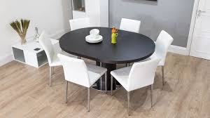 awesome dark wood round extending dining table white or grey faux leather round extending dining room table and chairs designs