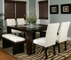 dining room sets with four white chairs a dark wood bench with white cushion