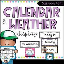 Calendar And Weather Chart Sassoon Font Polka Dot