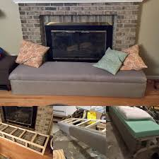 my diy fireplace per bench seat that slides forward as a free standing bench