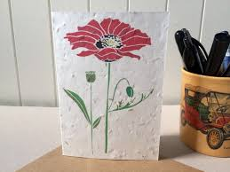Biodegradable Paper With Flower Seeds Field Poppy Plantable Eco Card Gyo Wildflower Garden Seed Card Red Poppy Biodegradable