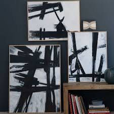 >abstract black white wall art west elm abstract black white wall art
