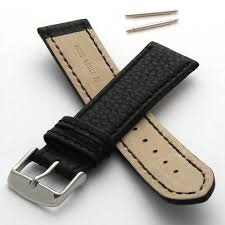 leather watch strap with coloured stitching 28mm black