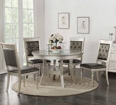 details about zandra 5pc round metallic silver finish wood glass top leather dining table set