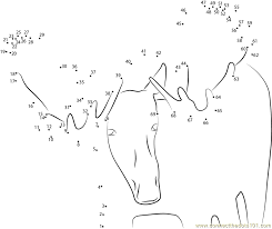 Moose Face Look dot to dot printable worksheet - Connect The Dots ...