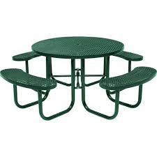 green commercial round picnic table