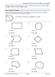 Polygon Interior Angles Worksheet