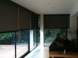 outdoor patio roller shades in brown for sliding glass door for