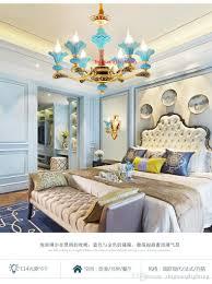 Großhandel Amerikanische Kronleuchter Wohnzimmer Lichter Französisch Stil Garten Lichter Einfache Restaurant Keramik Lampe Mittelmeer Kronleuchter