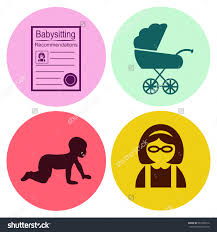professions babysitting nanny people work set stock vector babysitting nanny people at work set vector icon