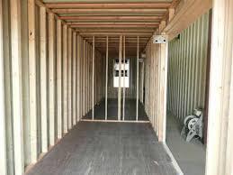 finished interior studded wood framing