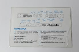 Midiverb 4 Program Chart Alesis Midiverb Ii Quick Setup Program Chart