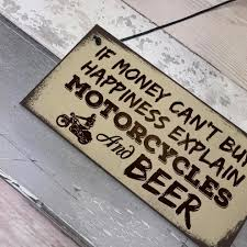 red ocean beer motorcycle enthusiast motorbike man cave sign garage vine dad grandad gift for him