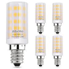 albrillo e12 light bulb candelabra light bulbs 5w 60 watt equivalent ceiling fan bulbs 3000k warm white non dimmable led light bulbs 5 pack