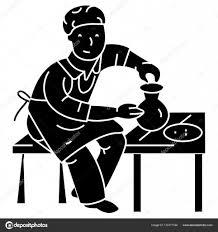 陶器陶芸陶芸家アイコンベクトル イラスト孤立した背景に署名