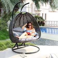 2 person heavy duty outdoor wicker hanging porch swing basket chair cover charcoal large