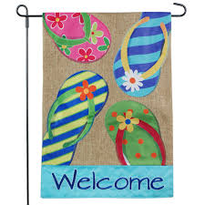 Small Picture Sensational Design Welcome Garden Flag Plain Summer Flip Flops