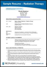 Radiation Therapist Resume Physical Therapy Resume Objective Samples Sample Resume