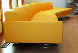 image of light yellow leather sofa