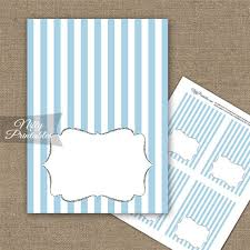 Folded Place Cards Light Blue Silver Stripe Folded Tent Place Cards