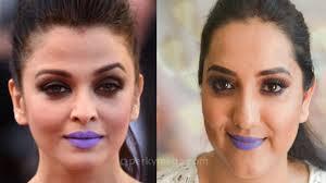aishwarya rai cannes 2016 makeup tutorial purple lips video indian stan