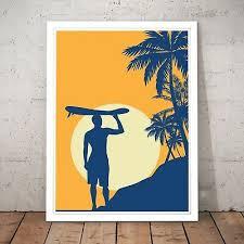 retro surfing summer beach surf decor