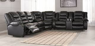 ashley furniture 79308 88 77 94 3 pc vacherie black faux leather sectional sofa with recliner ends