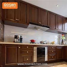 shaker style oak solid wood dark grain color door with best quality birch plywood kitchen cabinets