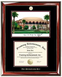 buy personalized arizona state university asu lithograph diploma  buy personalized arizona state university asu lithograph diploma frame gold mba medallion gold embossed personalization premium wood glossy
