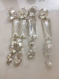 vintage lot 4 clear glass rectangular crystal prisms chandelier lamp