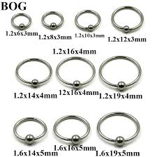 Nose Hoop Size Chart Us 1 99 10 Pieces Extra Large Size Surgical Steel Captive Bead Ring Septum Nose Hoop Ring Ear Tragus Cartilalge Labia Piercing Ring 16g In Body