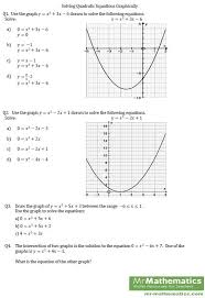 solve quadratic equations by graphing worksheet