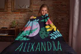 Design Your Fleece Personalized Custom Cozy Plush Fleece Blanket Design Your Name Blanket Customizable Throw Keepsake Blanket For Women Men Couples Bedding Black
