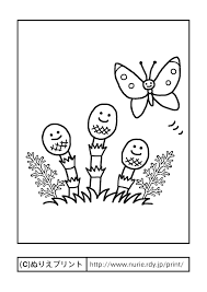 つくし土筆とモンシロチョウ主線黒春の季節行事大人の塗り絵