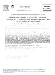 finite difference solution of the diffusion equation and calculation of the interdiffusion coefficient using the sauer freise and hall methods in binary