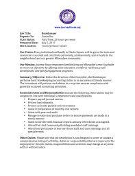 Bookkeeper Job Description Jobs JH 17