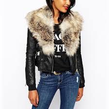 whole 2017 new fur collar mosaic pu leather jacket zipper outerwear short coat women winter warm plus size casual overcoat parka q1660 black jacket