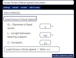 Lead Screw Critical Speed Calculator