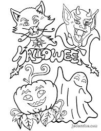 Coloriage Halloween Chat Coloriage De Coloriage Halloween Monstres Fantome Peur L