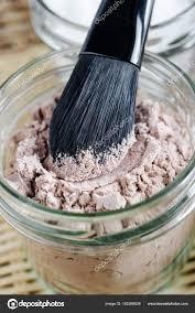 mineral homemade powder foundation or dry shampoo in a grass jar diy cosmetics close