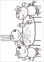 Kids N Fun Kleurplaat Peppa De Big Aan Tafel Met Vrienden
